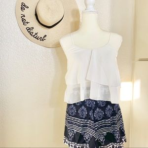 CAMI TOP & NAVY BLUE VINTAGE TRIBAL SHORTS (0124)